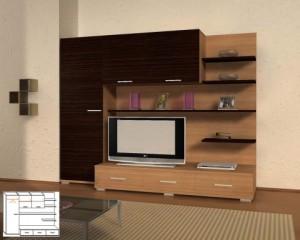 Стенка мебельная комбинированная для гостиной