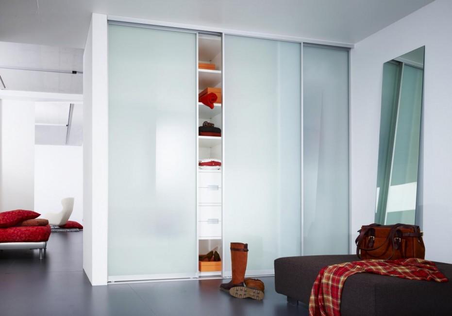Wonderful-Blurred-Glass-Sliding-Closet-Doors-Ideas-for-Floor-to-Ceiling-Closet-beside-Low-Brown-Ottoman